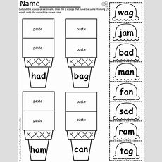 Cvc Scoops! Color, Cut And Paste With Simple Cvc Word Families!  School Time  Rhyming Words