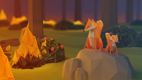 wallpaper fox  poly  forest abstract
