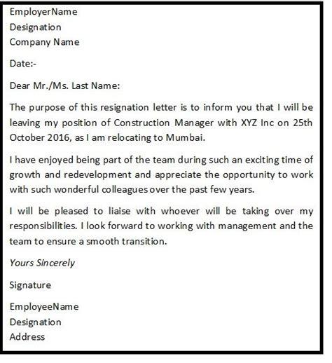 resignation letter format  reason describing