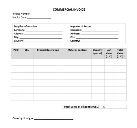 Commercial Invoice Template Commercial Invoice Template Flexport