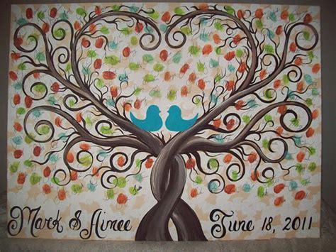 wedding guest book thumbprint tree 16 x 20