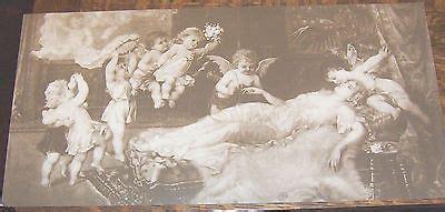 store stock black white sepia tone victorian sleeping lady cherubs print   personal