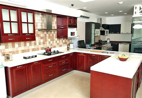 shaped kitchen  false ceiling  maroon cabinets