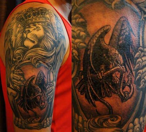sleeve black  grey og abel inspired design tattoo