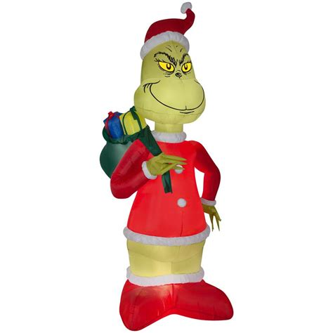 grinch inflatable airblown 8 ft h x 4 23 ft w grinch in santa suit with sack 110010 the