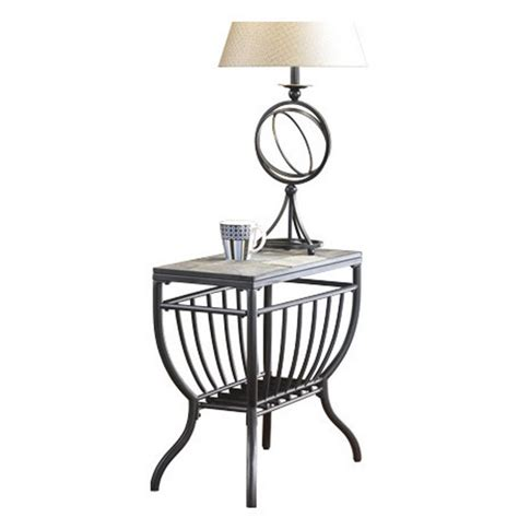 ashley antigo slate tile chair side end table in black