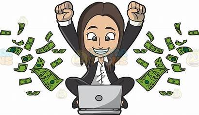 Money Clipart Making Clip Earn Happy Woman