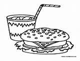 Lunch Soda Coloring Pages Hamburger Pop Food Coke Colormegood sketch template