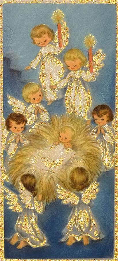 Animated Angels Merry Glitter Snow Jesus Scenes