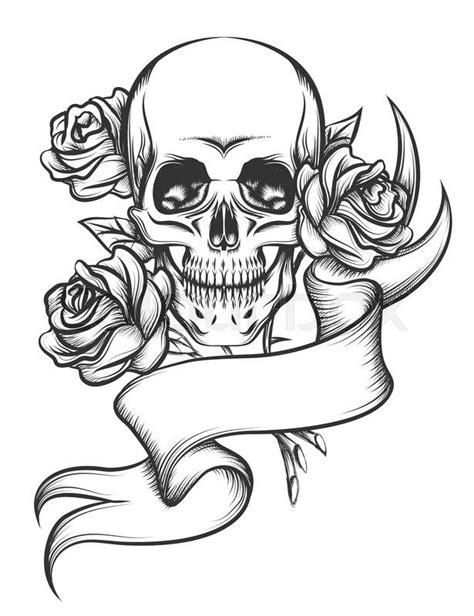 17619074-skull-and-roses-with-ribbon.jpg (615×800)   Skull