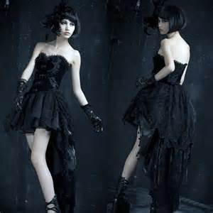 Gothic Black Corset Wedding Dresses