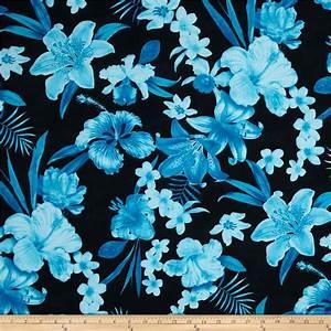 Kaufman Tahitian Nights Poplin Spaced Flowers Turquoise