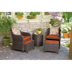 seabrook 5 pc wicker chat set w pull out ottomans all