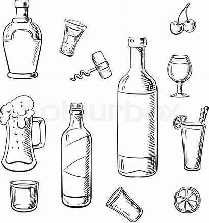 Wine Alcohol Bottles Drinks Sketch Whiskey Vector