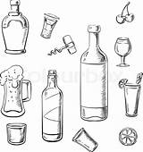 Wine Alcohol Bottles Drinks Sketch Whiskey Cocktails Bottle Beer Colouring Illustration Vector Drink Coloring Pages Liquor Sketches Template Paintingvalley sketch template