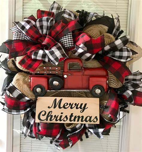 christmas wreath red truck wreath red truck farmhouse