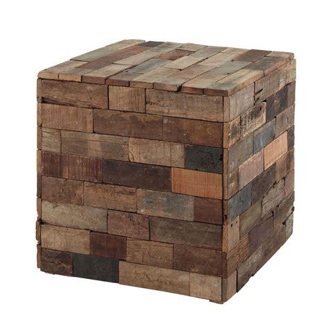 bout de canapé en bois bout de canapé cube en bois multicolore l 41 cm praja
