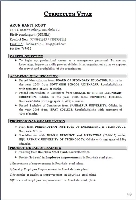 Resume Format For Diploma Holders  Best Resume Gallery