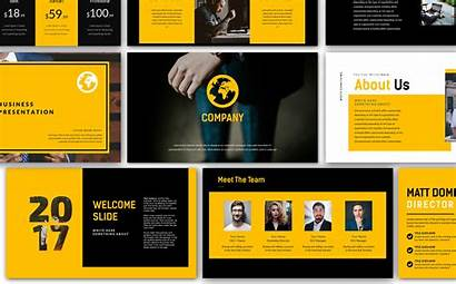 Presentation Template Yellow Company Business Powerpoint Templates