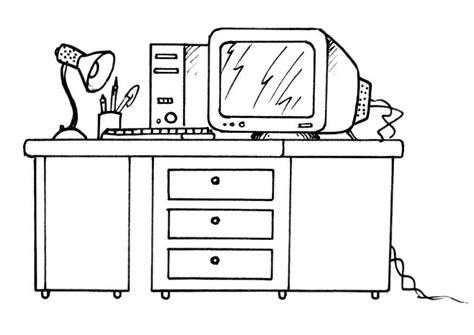 dessin de bureau kleurplaat bureau met computer afb 8190
