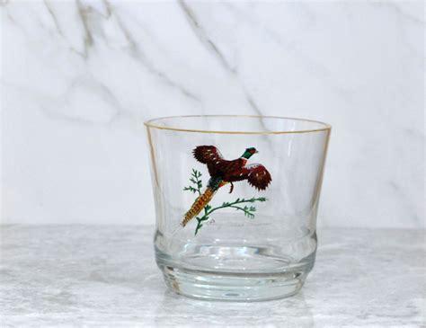 Vintage Ring Necked Pheasant Glass Ice Bucket