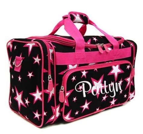personalized duffle bag stars black pink dance gym cheer