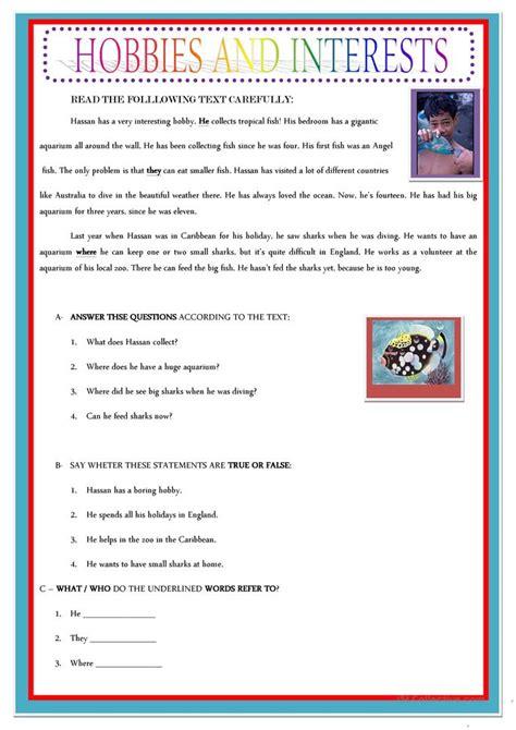 hobbies and interests worksheet free esl printable