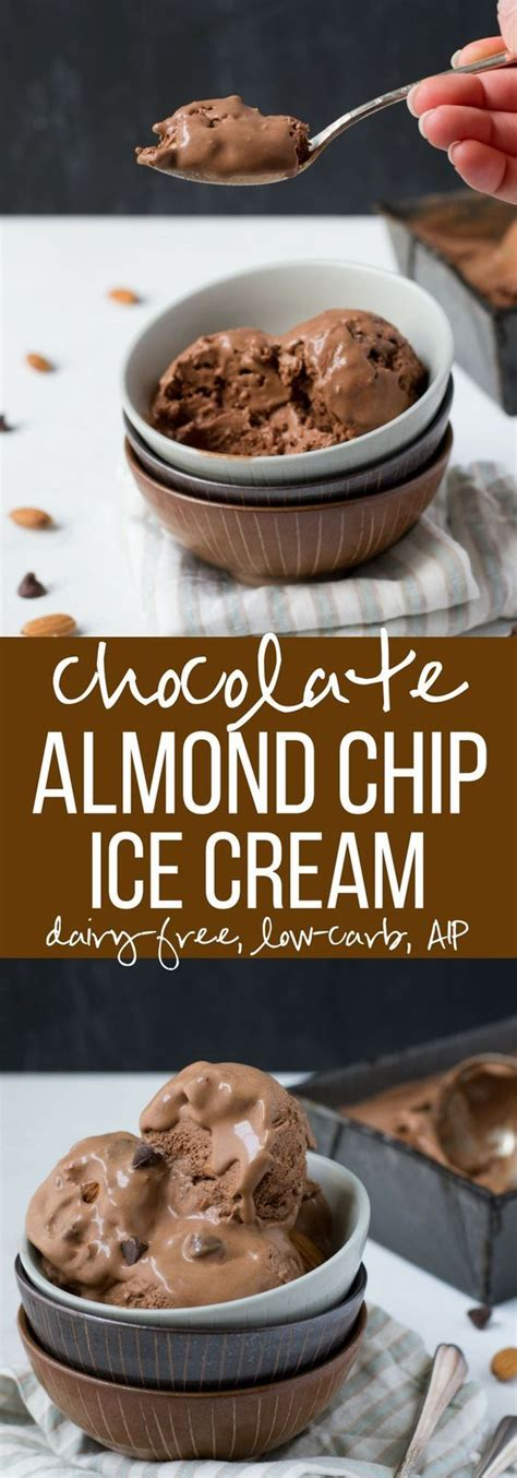 A lower fat ice cream recipe. Chocolate Almond Chip Ice Cream made with Coconut Milk ...