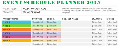 Template For Schedule Of Events by Sle Event Schedule Planner Template Formal Word Templates