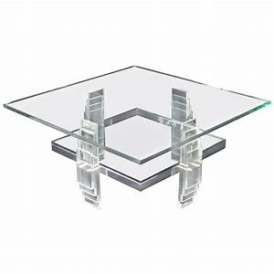 nice large lucite and glass square coffee table for sale With nice glass coffee tables
