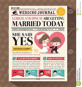cartoon newspaper wedding invitation card design stock With wedding announcement templates newspaper