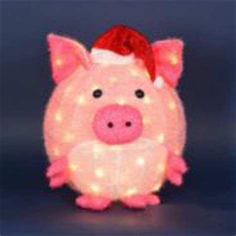 lighted pig lawn ornament christmas 20 quot lighted 3 d chenille pink pig in santa hat outdoor yard