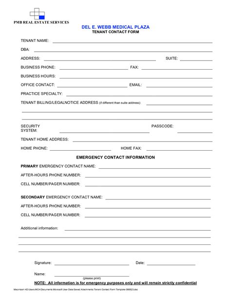 Contact Form Template Best Photos Of Tenant Contact Information Form Template