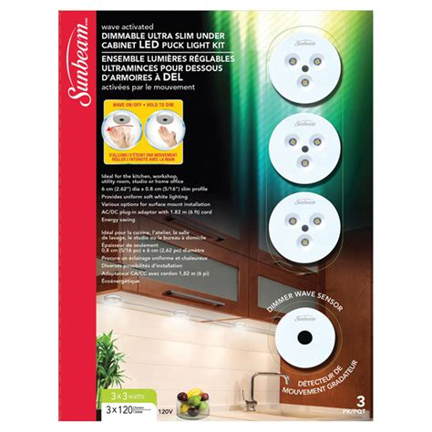 led dimmable cabinet puck light kit 3 pack rona