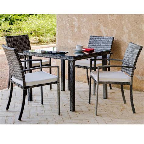 table et fauteuil de jardin en resine tressee jsscene