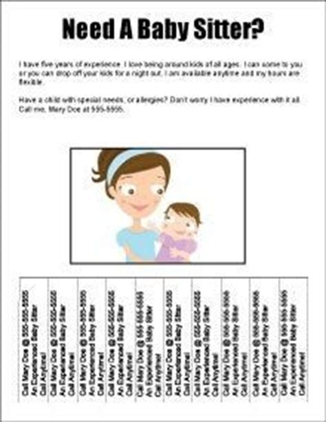 babysitting flyer template free 15 best ideas about babysitting flyers on babysitting fundraising ideas and