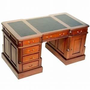 Bureau De Style : bureau double anglais acajou plateau noir oxford meuble de style ~ Teatrodelosmanantiales.com Idées de Décoration