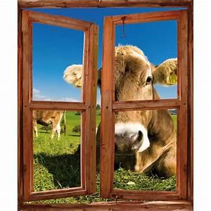 Image Trompe L Oeil : sticker fen tre trompe l 39 oeil d co vache art d co stickers ~ Melissatoandfro.com Idées de Décoration