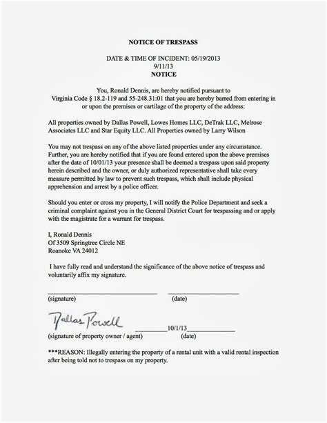 Trespass Notice Template by Real Estate Investors Of Virginia Ronald Dennis Notice