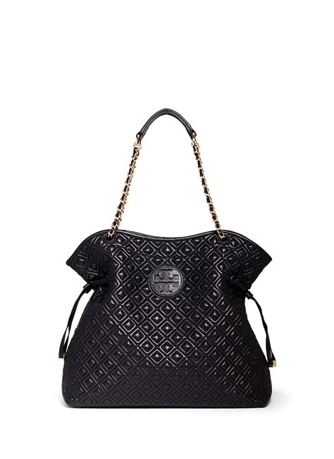 burch marion quilted slouchy tote burch marion quilted leather slouchy tote in black lyst