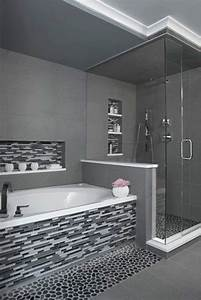 29 gray and white bathroom tile ideas and pictures With black white and grey bathroom ideas