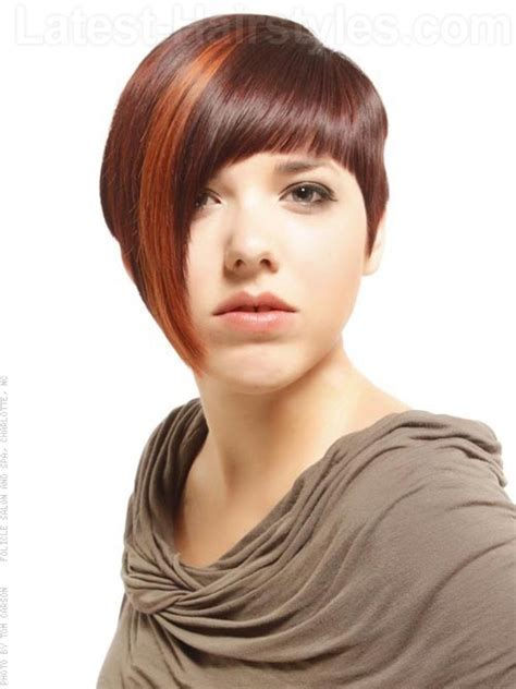bob Hairstyle Asymmetrical with Bangs   styloss.com