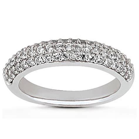 14k white gold triple multi row pave diamond wedding ring band ebay