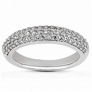 14k white gold triple multi row micro pave diamond With multi band wedding ring