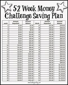 52 week money challenge saving plan free printable 52 With savings planner template