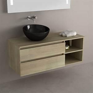 Meuble Vasque 120 : pack meuble de salle de bains terra ch ne clair 120 cm ~ Nature-et-papiers.com Idées de Décoration