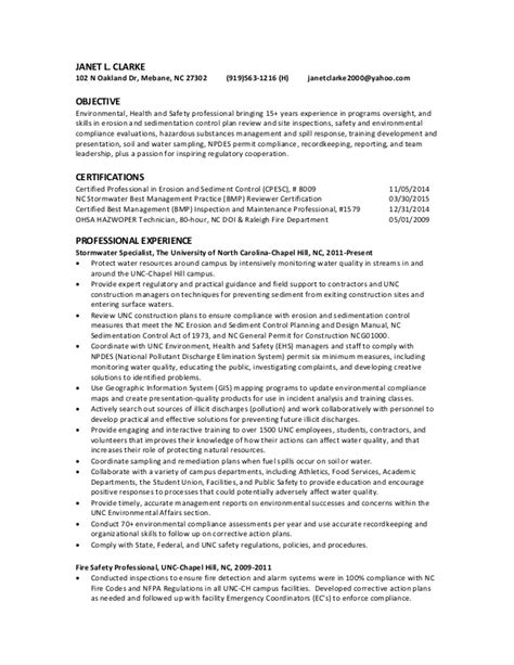 Environmental Health And Safety Resume Objective by Janet L Clarke Resume Ehs Professional 2015 1
