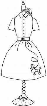 Coloring Pages Poodle Skirt Form 1950s Google Applique Embroidery Pattern Colouring Sock Hop 50s Dresses Skirts Dog Forms Designs Line sketch template