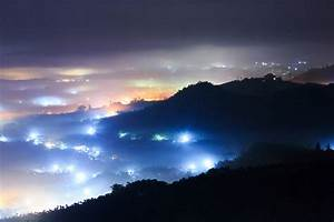 Landscapes, Night, Lights, Hills, Towns, Cities, Haze, Fog, Mist, Trees, Forests, Mountains, Hdr