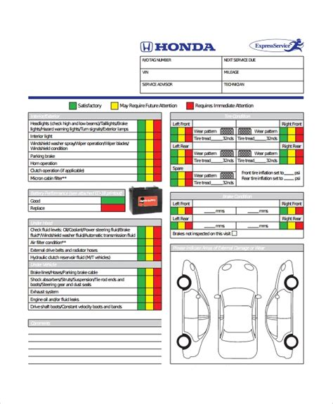 vehicle inspection checklist templates